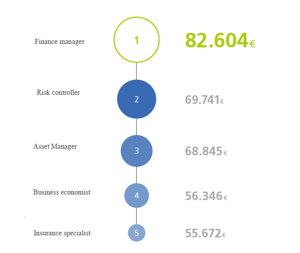 Machine generated alternative text: Finance manager Risk controller Asset Manager Business economist 69.741€ 68.845€ 56.346€ Insurance specialist 55.672€
